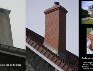 Reconstruction de cheminées en briques - chantier privé