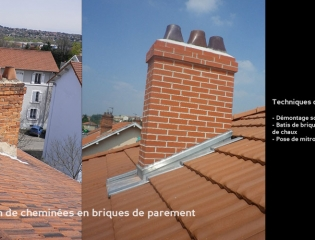 Reconstruction de cheminées en briques de parement - chantier privé